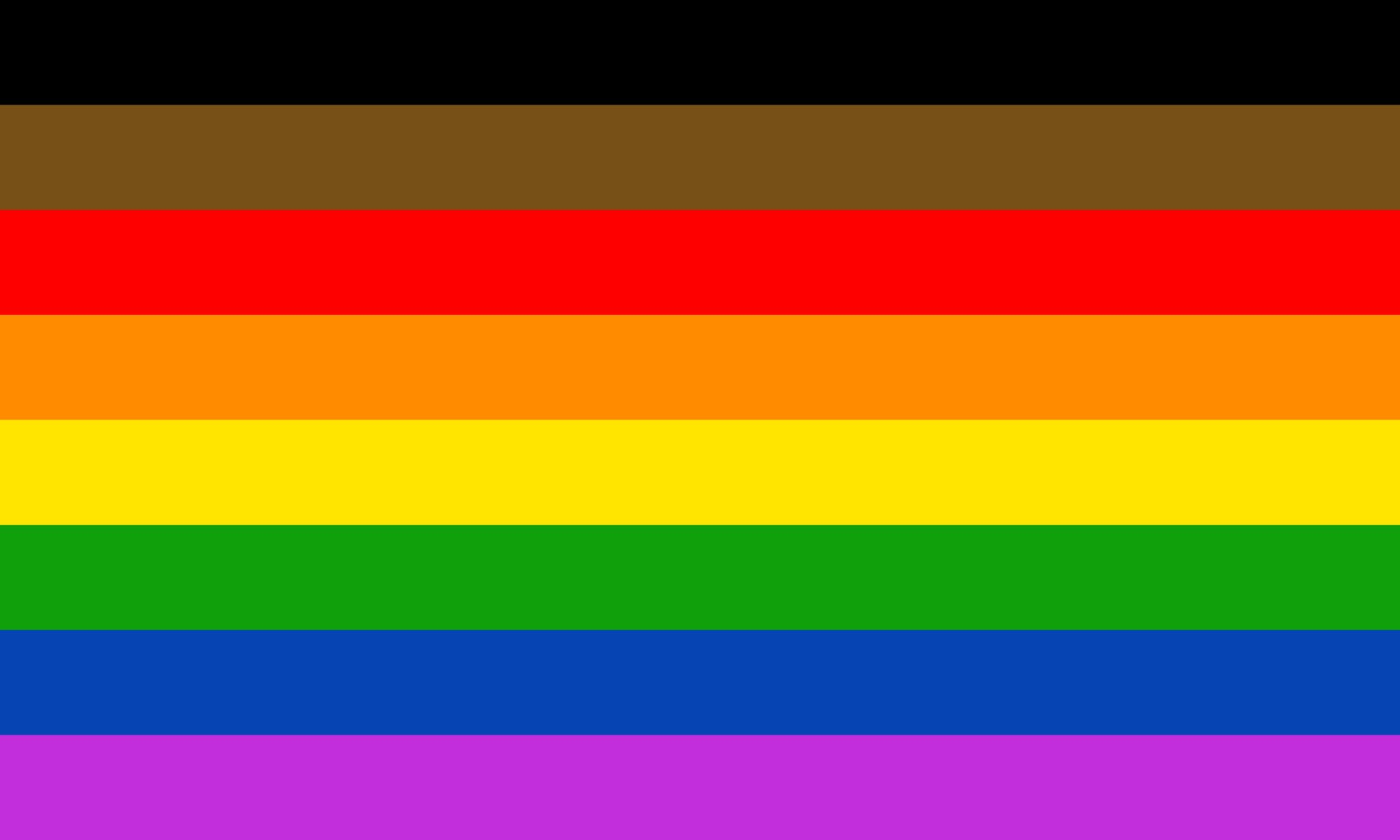 The city of Philadelphia's new LGBT Pride flag, which includes a band of brown and a band of black at the top of the traditional rainbow stripes.